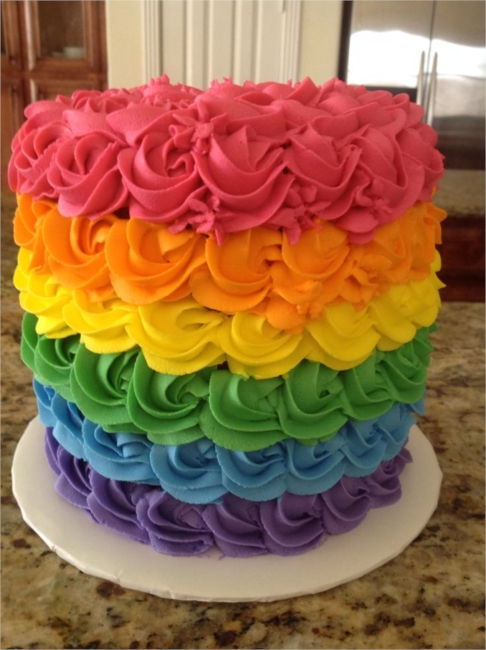 Rainbow Cake - Like a Rainbow on a Plate!