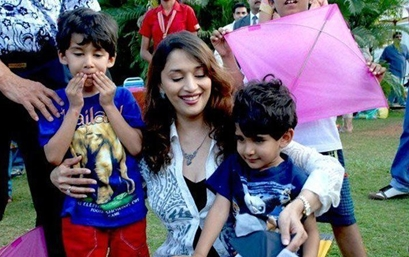 Madhuri Dixit with Arin and Raayan