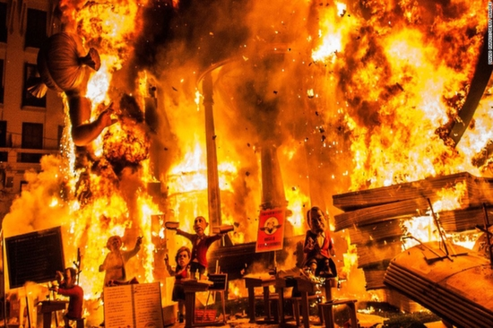 Traditional Falla Sculptures Burn Down On The Last Day Of The Las Fallas Festival in Valencia (Spain)